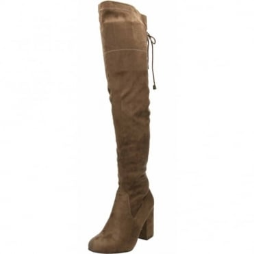 Over Knee High Block Heel Boots Stretchy Suede Style Brown