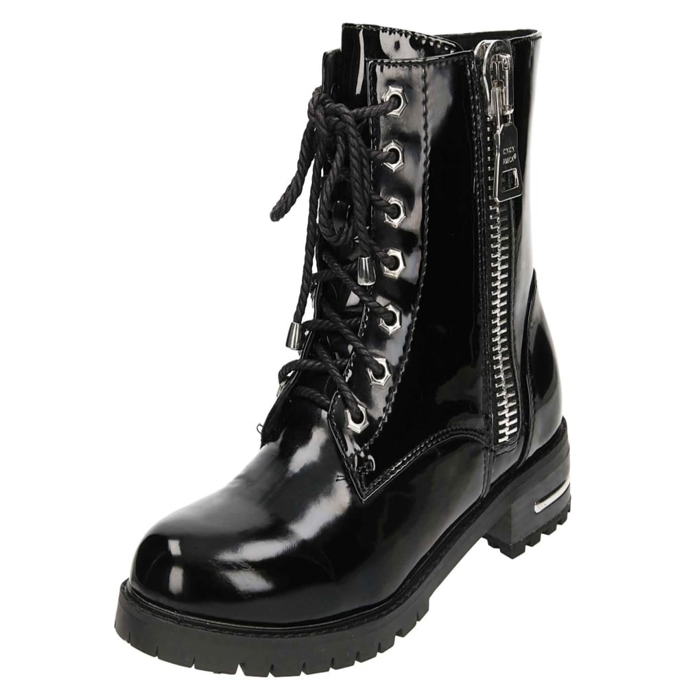 JWF Patent Lace Up Flat Ankle Combat