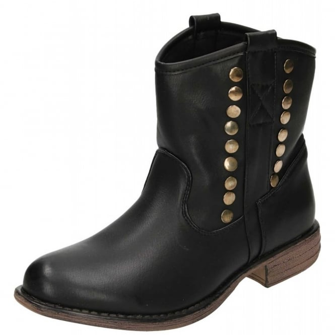 JWF Pull On Ankle Studded Black Boots