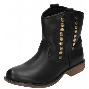 Pull On Ankle Studded Black Boots
