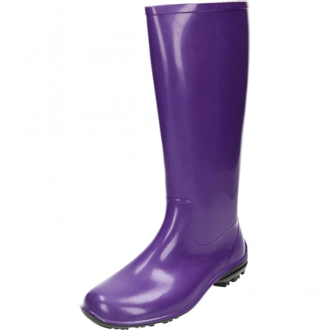 JWF Purple Wellington Boots Flat Wellies