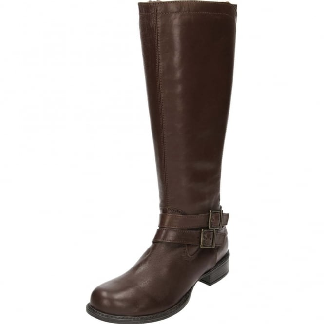 JWF Real Leather Knee High Flat Stretchy Boots