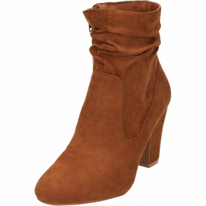 JWF Ruched Slouch High Heel Tan Ankle Boots Faux Suede