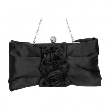 Satin Floral Evening Clutch Bag Purse