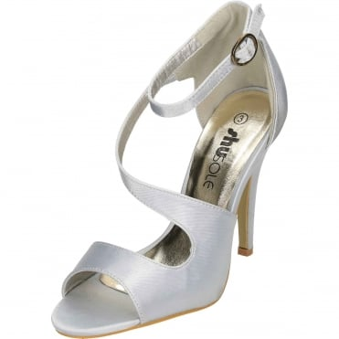 Satin High Heel Peep Toe Stiletto Sandals Ankle Strap Shoes