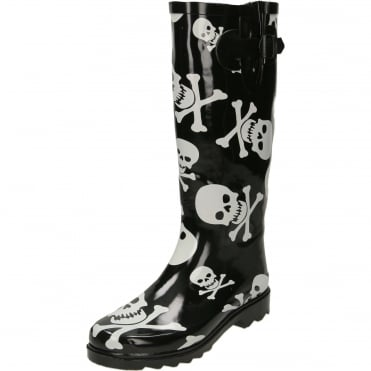 Skull Cross Bones Print Black Wellington Boots