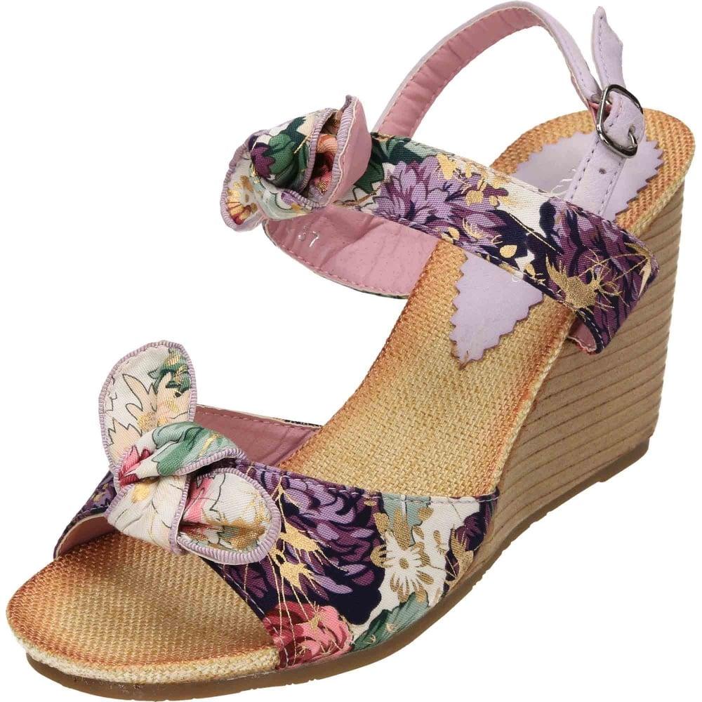 5344893362e JWF Slingback Wedge Heel Floral Satin Open Toe Sandals CLEARANCE - Ladies  Footwear from Jenny-Wren Footwear UK