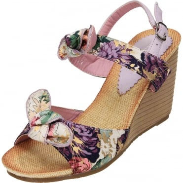 Slingback Wedge Heel Floral Satin Open Toe Sandals CLEARANCE