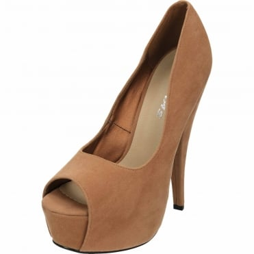 Stiletto Very High Heel Peep Toe Platform Suede Style Tan Court Shoes