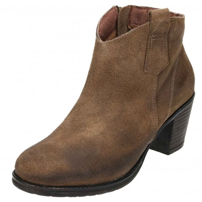 JWF Suede Leather Block Heel Cowboy Chelsea Ankle Boots
