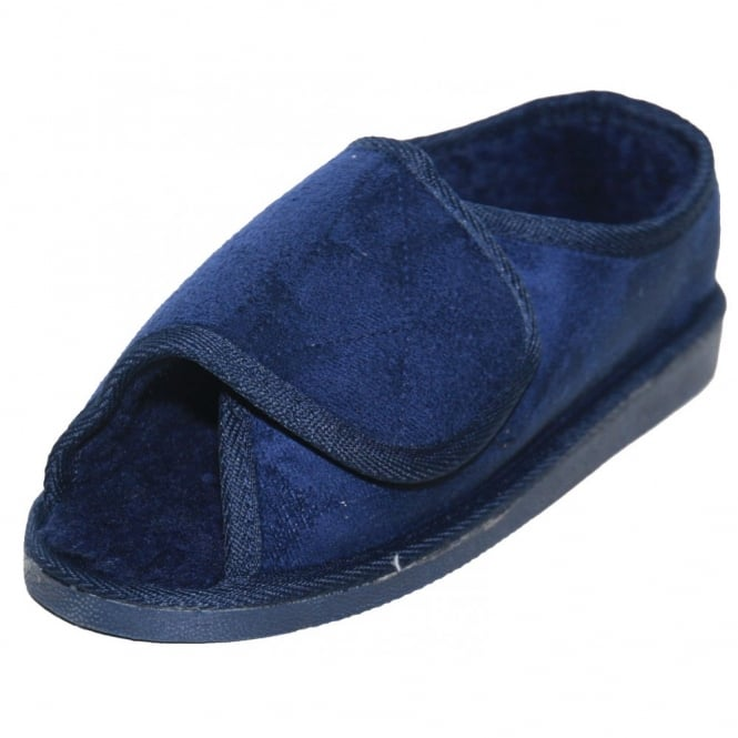 JWF Unisex Extra Wide Fit Fur Lined Open Toe Navy Blue Slippers Shoe