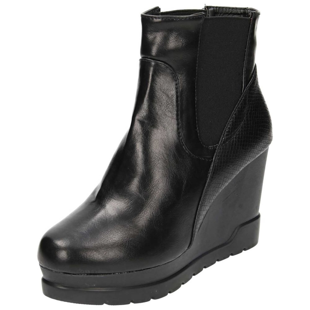 4e1ee62c4d7 JWF Wedge Heel Pull On Chelsea Platform Ankle Boots - Ladies Footwear from  Jenny-Wren Footwear UK