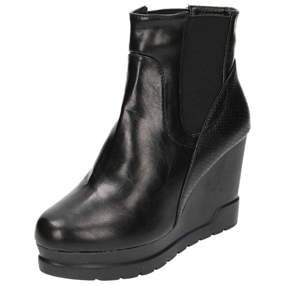 sort wedge støvler uk on sale 5d681 5eab5