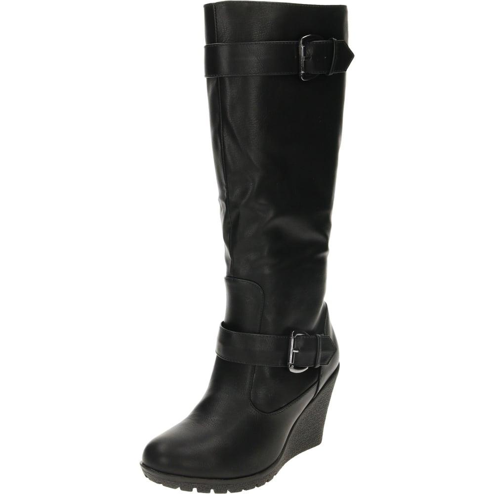 Jwf Wedge Heeled Boots Black Leather Suede Style Ladies Footwear