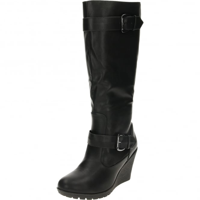 JWF Wedge Heeled Boots Black Leather Suede Style