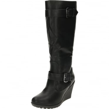 Wedge Heeled Boots Black Leather Suede Style