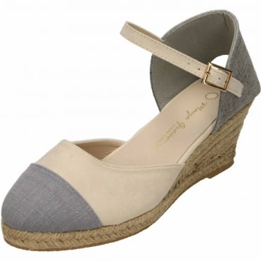 Wedge Woven Heel Ankle Strap Closed Toe Espadrilles