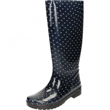 Wellington Boots Blue Polka Dot Flat Welly CLEARANCE