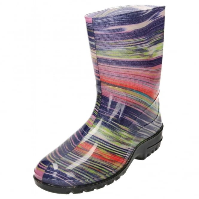 JWF Wellington Boots Flat Mid Calf Print Gloss Wellies