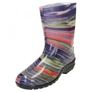 Wellington Boots Flat Mid Calf Print Gloss Wellies