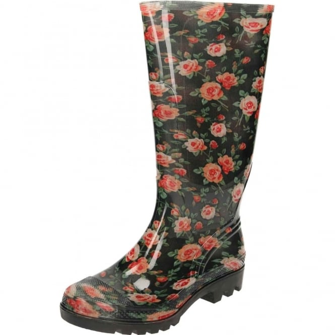 JWF Wellington Boots Roses Black Flat Welly