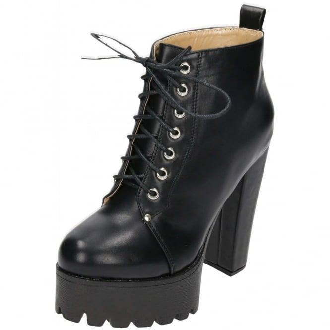 Koi Couture Black Chunky High Heel Platform Lace Up Ankle Boots