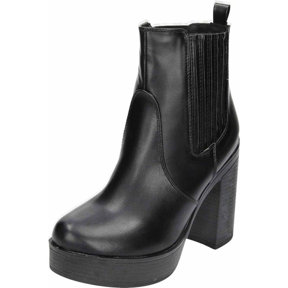 53b843b65d3e1 Koi Footwear Black Chunky High Heel Platform Pull On Ankle Boots - Ladies  Footwear from Jenny-Wren Footwear UK