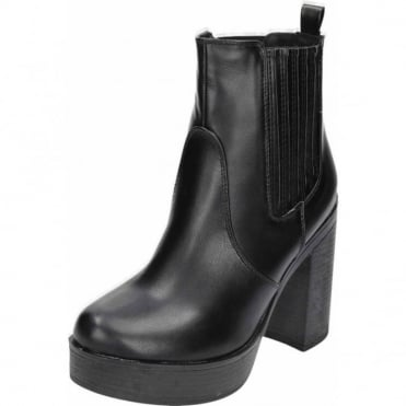 Black Chunky High Heel Platform Pull On Ankle Boots