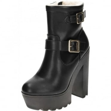 Black Chunky High Heel Platform Warm Lined Ankle Boots