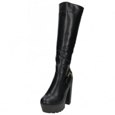 Chunky Heel Platform Boots Knee High Stretchy
