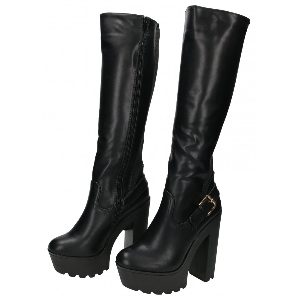 6a08860c65a2 Koi Couture Chunky Heel Platform Boots Knee High Stretchy .
