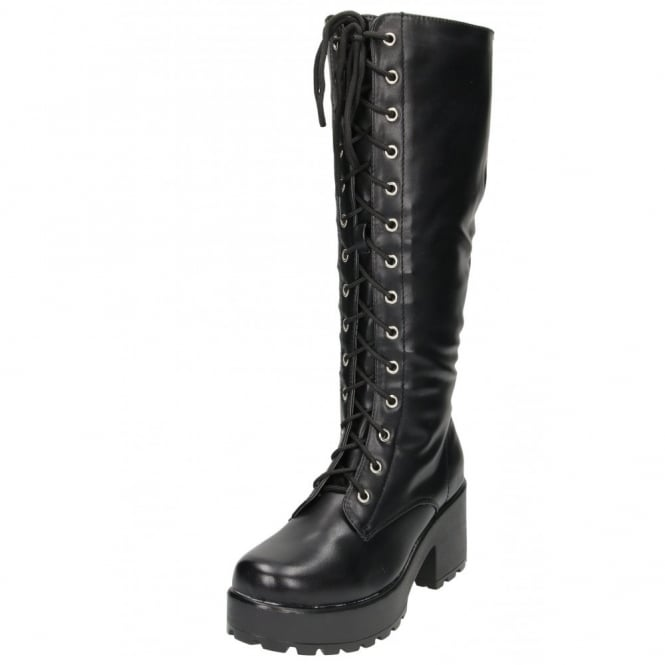 Koi Couture Chunky Heel Platform Gothic Punk Knee High Mid Combat Lace Up Boots
