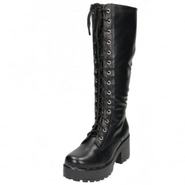 Chunky Heel Platform Gothic Punk Knee High Mid Combat Lace Up Boots
