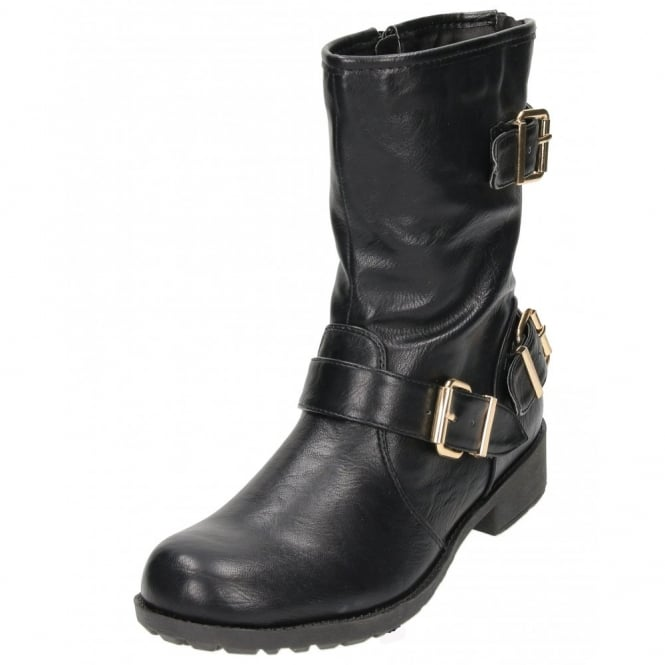 Koi Couture Flat Mid Calf Ankle Boots Military Combat Biker