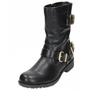 Flat Mid Calf Ankle Boots Military Combat Biker
