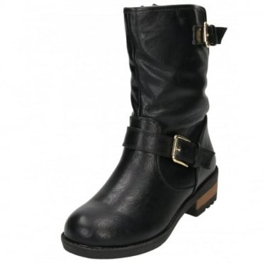 Fur Lined Flat Boots Mid Calf Biker Ankle