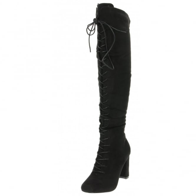 Koi Couture Lace Up Boots Knee High Block Heel Suede Style