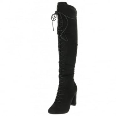 Lace Up Boots Knee High Block Heel Suede Style