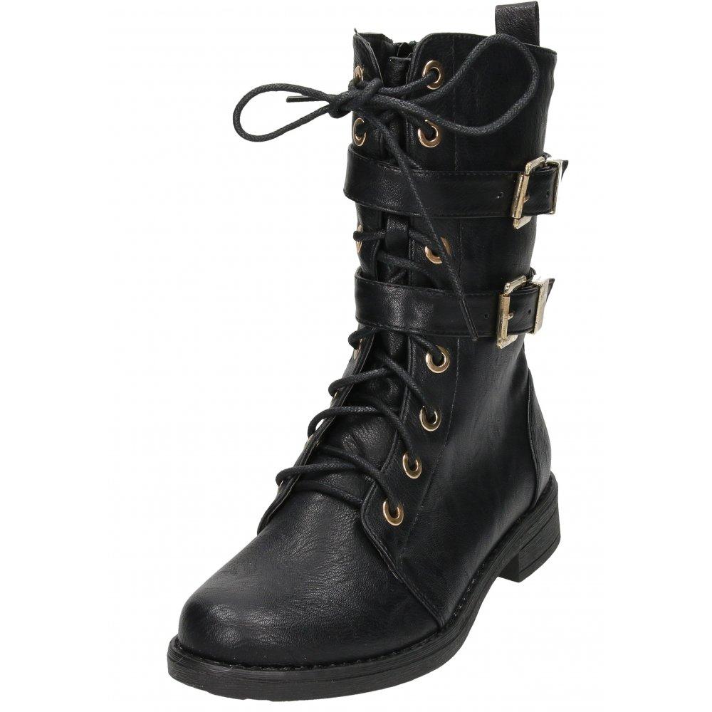 Black Lace Up Flat Shoes