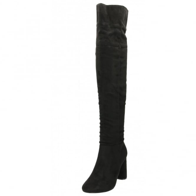 Koi Couture Over The Knee Boots Faux Suede Block High Heel
