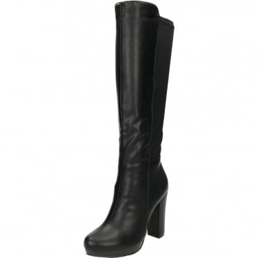 Stretchy Block High Heel Platform Angular Knee Boots Black