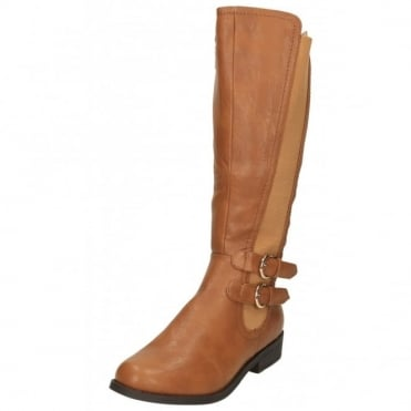 Stretchy Boots Flat Faux Leather Knee High Buckle Strap