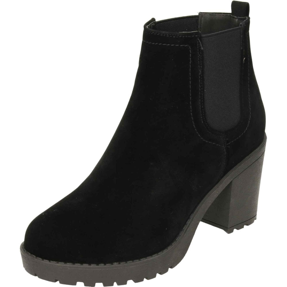 cd32fc6dc0587 Koi Footwear Chunky Heeled Platform Chelsea Ankle Boots Suede Style ...