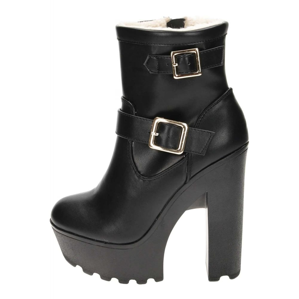 e0316f64fb3 Koi Footwear Chunky High Heel Platform Warm Lined Ankle Boots ...