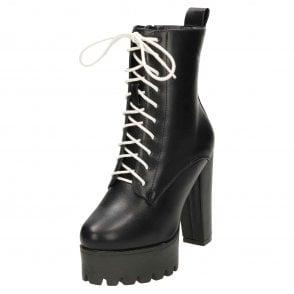 ebdb63fd90 Koi Footwear Black Chunky High Heel Platform Lace Up Ankle Boots ...