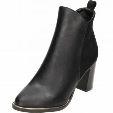 391fcf5b7b3 Block Heeled Ankle Boots Black Suede Leather Style