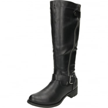 Knee High Flat Boots Riding Style Black
