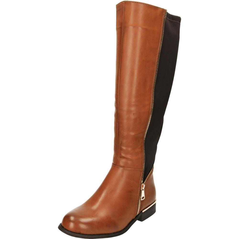 2b05dfc957113 Krush Knee High Flat Stretchy Riding Boots Brown - Ladies Footwear ...