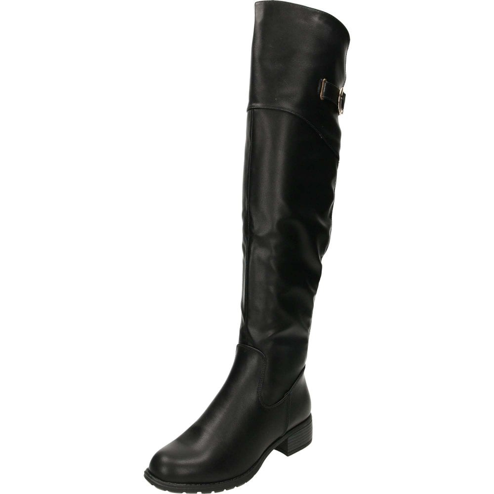 best supplier info for best prices Knee High Tall Flat Stretchy Boots Black