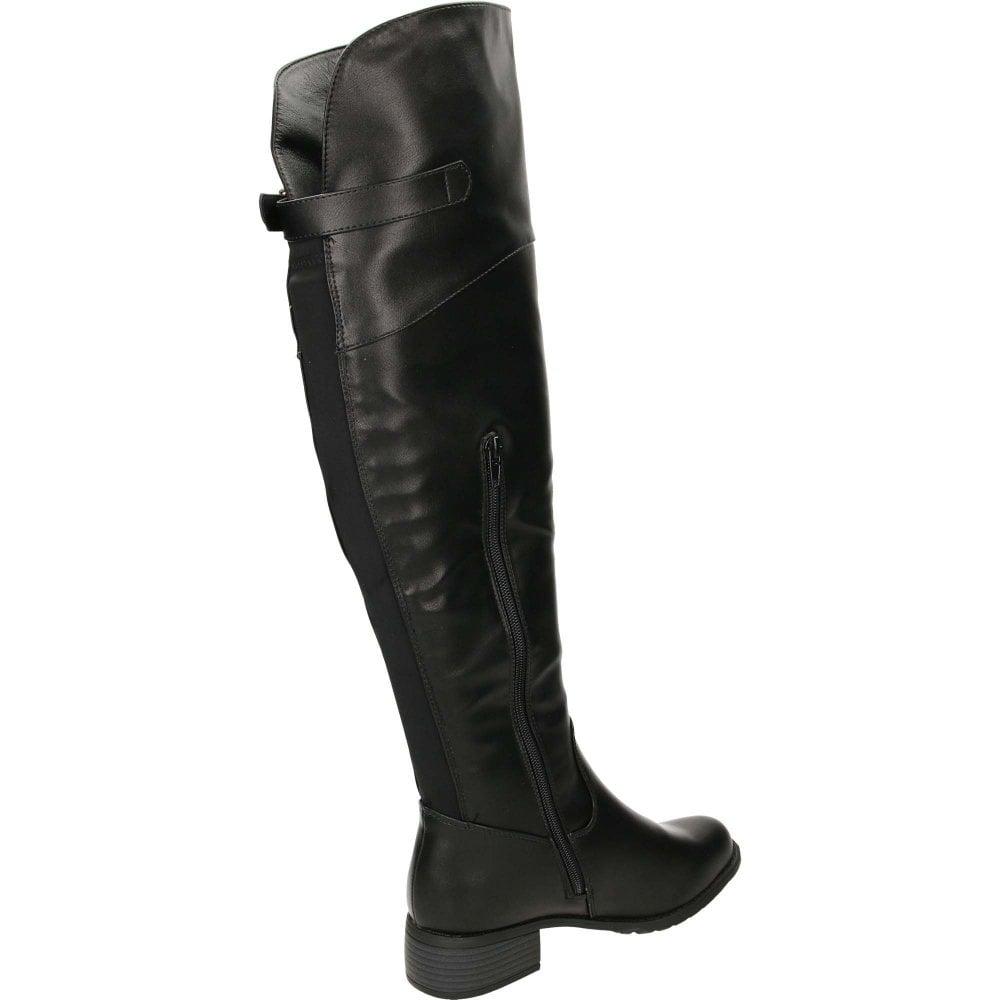14d2bf11ea6c6 Krush Knee High Tall Flat Stretchy Boots Black - Ladies Footwear ...
